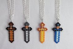 Minecraft sword necklaces hama perler beads by BIGBEADSUK on Etsy