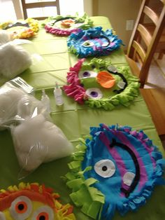 Stuff a monster pillow!  Craft for kids birthday or Halloween.  Use as diy activity or party favor.