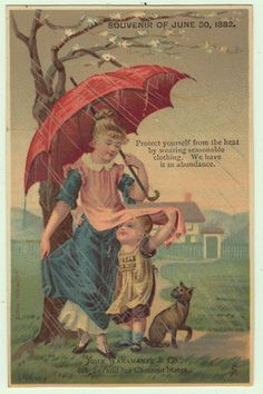 Wanamaker Clothing Victorian Trade Card Umbrella Mother Child Raining Cat