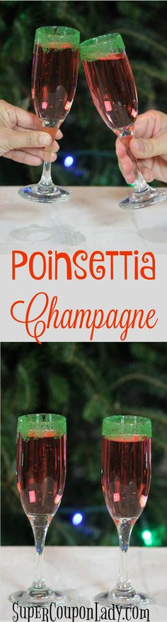 """I love getting into the Christmas spirit with a """"Poinsettia Champagne. It's such a refreshing drink that's not too sweet or to dry, so everyone can Cocktails To Try, Fancy Drinks, Poinsettia Drink, Christmas Treats, Christmas 2017, Christmas Recipes, Champagne Drinks, Coupon Lady, Winter Drinks"""