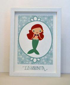 La Sirenita https://www.etsy.com/es/listing/179606024/lamina-enmarcada-kawaii-princess-la