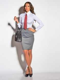 Pantyhose Outfits, Women Wearing Ties, Secretary Outfits, Look Office, Business Outfits Women, Professional Outfits, Beautiful Blouses, Office Outfits, Work Attire