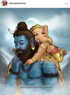 Shri Ganesh Images, Shiva Parvati Images, Ganesha Pictures, Mahakal Shiva, Shiva Statue, Shiva Art, Krishna Art, Hindu Art, Baby Krishna