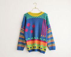 vinatge 80s neon geometric sweater/ oversized slouchy multicolored sweater