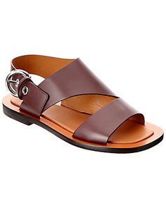 Celine Bam Bam Leather Flat Sandal' In Burgundy Leather Sandals Flat, Leather Shoes, Mens Beach Shoes, Leather Slippers For Men, Fashionable Snow Boots, Fashion Boots, Casual Shoes, Shoes Sandals, Cowgirl Boots