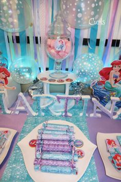Purple and blue treats at a Little Mermaid birthday party! See more party ideas at CatchMyParty.com!