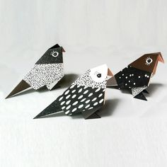 Set of 3 Origami Birds - Folded and Packed from FlyAway BlueJay