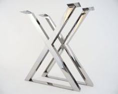 """28"""" X-frame Table Legs , 24"""" Base Width,stainless Steel, Height 26"""" To 32"""" Set(2)"""
