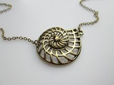 Nautical Nautilus Charm Necklace in Antique Gold by luckysparks, $9.50