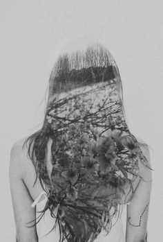double exposure | long hair | floral | fine art photography | flowers | grey | black & white