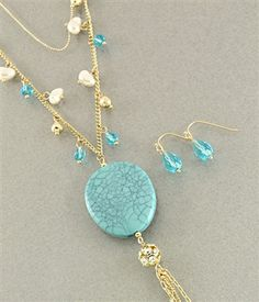 $24 Long Layered Necklace - 30 inch - Gold & Blue