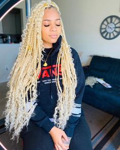 Boho box braids platinum blond hair by me hair used 613 braiding hair gogo freetress curl in color 613 swipe left luck blond hair straight synthetic lace wigs Colored Box Braids, Big Box Braids, Braids With Curls, Box Braids Styling, Braids Wig, Bob Braids, Short Braids, Braids With Weave, African American Braided Hairstyles