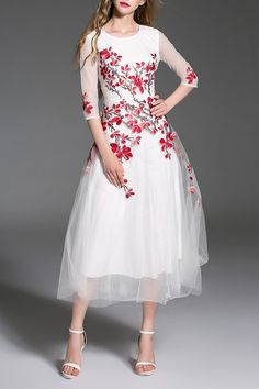 dress with red floral embroidery
