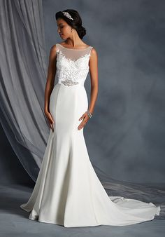 Satin gown with sweetheart neckline, beaded bodice, and embroidered lace appliqué details I Style: 2557 I The Alfred Angelo Collection I http://knot.ly/6496BIJTu