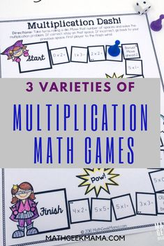 This adorable set of printable multiplication games is so easy to use-just print and play! And I love that there are different versions to help kids focus on specific multiplication skills! #freemathresources #freeprintables #freemathgames #easymathgames #multiplicationmathgames #printablemathgames