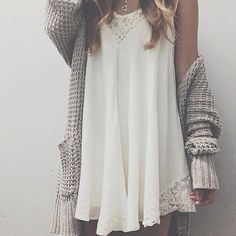 dress sweater hippie cardigan top white lace short chunky cardigan necklace crochet white dress summer outfits cable knit tan beige slouchy lace dress white little dress Mode Outfits, New Outfits, Fashion Outfits, Summer Outfits, Dress Fashion, Party Outfits, Fashion Clothes, New Clothes, Fashion Pics