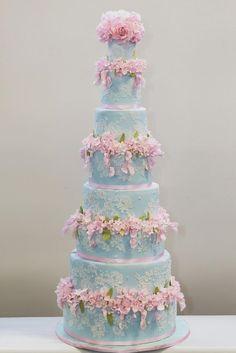 Blau Cornelli Lace-Kuchen mit rosa Blumen