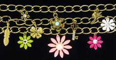 Retro Enamel Flower Power Triple Link Charm Rhinestone Gold Vintage Bracelet | eBay