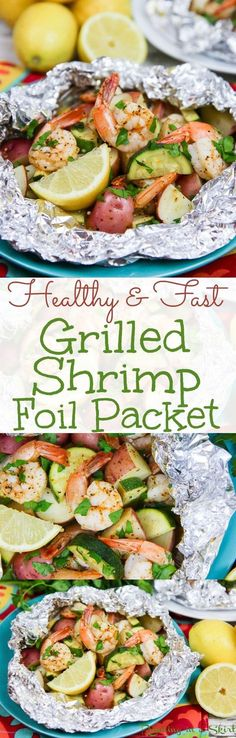Healthy Grilled Shrimp in Foil recipe Healthy Low Country Boil Style Foil Packet Shrimp. No butter only olive oils, Old Bay & lemon! Pescatarian version uses zucchini instead of sausage – a complete meal. Healthy Grilling, Grilling Recipes, Fish Recipes, Seafood Recipes, Recipies, Vegaterian Recipes, Snapper Recipes, Grilling Tips, Pescatarian Diet
