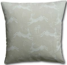 Cushion Covers Jump Natural Leaping Hares on Cream Background x Animal Cushions, Hare, Cushion Covers, Throw Pillows, Cream, Natural, Ebay, Creme Caramel, Cushions