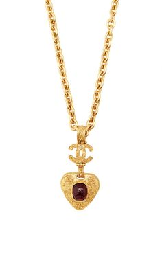 Vintage Chanel Red Gripoix Filigree Heart Necklace From What Goes Around Comes Around by Vintage Chanel - Moda Operandi