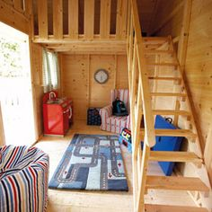 Inside play house Love the loft! Boys Playhouse, Outside Playhouse, Playhouse Kits, Backyard Playhouse, Build A Playhouse, Wooden Playhouse, Castle Playhouse, Outdoor Playhouses, Playhouse Interior