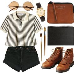 cool look, outfit, chic, retro, vintage, girl, hipster, shorts, boots www.PiensaenChi...