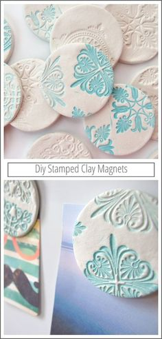 DIY: Make your own diy stamped clay magnets using air dry clay. I could make frig magnets with theses and paint them Clay Projects, Diy Projects To Try, Crafts To Make, Crafts For Kids, Arts And Crafts, Kids Diy, Paper Crafts, Homemade Gifts, Diy Gifts