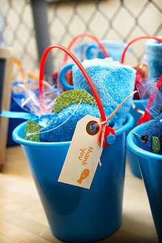 Cute fish party ideas - like the party favors & goldfish bar