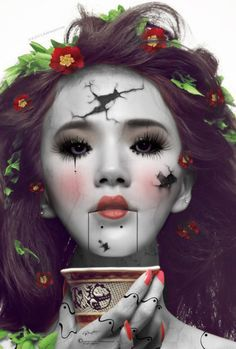 A broken China doll reminds me of Ophelia. The innocence having damage inflicted upon them due to events beyond their control. Ophelia goes crazy, then ultimately kills herself, which is her breaking due to events beyond her control. Events such as Hamlets' decent into madness
