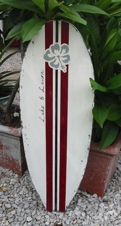 Beach Wedding Guest Book Tropical SURFBOARD SIGN 4 ft tall Shabby Vintage Personalized 47 x 15. $89.95, via Etsy.