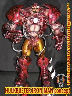 Hulkbuster Iron Man custom action figure from the Iron Man series using McFarlane Overtkill as the base, created by fastfreddie. Iron Man Series, Banner Hulk, Custom Action Figures, Marvel Dc, Spiderman, Toys, Painting, Art, Figurine