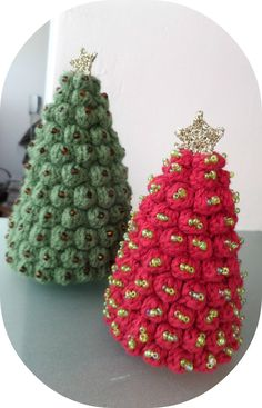 Set of 2 Crocheted Christmas Stuffed Trees, Amigurumi Christmas decoration, Handmade Christmas Trees Decorated with Beads by Vintagespecialmoment on Etsy