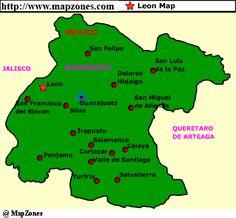 Leon Guanajuato Mexico Map | MapZones.com : Leon Map