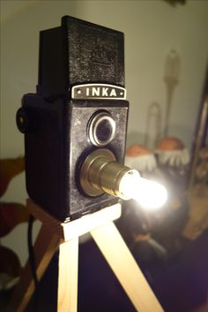 "1947 vintage Atak camera ""Inka"" turned into a table lamp. A Table, Table Lamp, Diy Stuff, Repurposed, Lamps, Lights, Handmade, Vintage, Highlight"