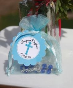 Rosary Bead Favors with Personalized Tag