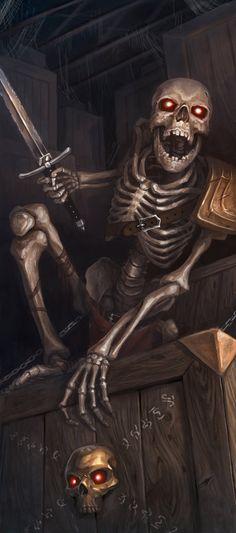 Surprise Skeleton Attack dungeon crypt graveyard catacombs -- concept art by Phill Simmer -- The Skeletal Crate by PhillterUnfiltered on deviantART Dark Fantasy, Fantasy Rpg, Medieval Fantasy, Dungeons And Dragons, Art Harley Davidson, Skeleton Warrior, Evil Dead, Dnd Monsters, Fantasy Monster