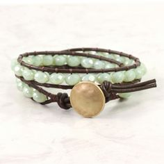 Brown Leather Wrap Bracelet Mint Green by AbacusBeadCreations, via Etsy