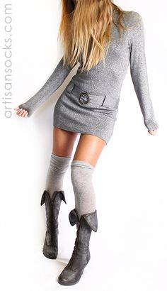 45c57b935e8 Shiny Silver Socks - Silver Over the Knee Socks by K. Bell from Artisan  Socks