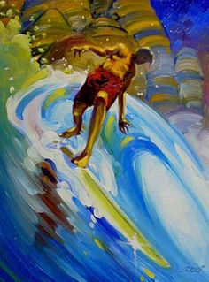"""Desert Island Cutback"" #SurfArt by Ron Croci"