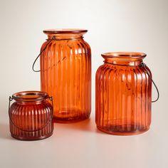 Orange Ribbed Glass Lantern Candleholder | World Market