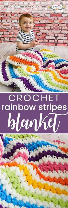 Get the free crochet pattern for this rainbow stripes baby blanket from Sewrella featured in my gender neutral rainbow baby blanket FREE pattern roundup!