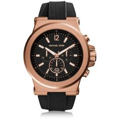 Michael Kors Dylan Rose Gold Tone Stainless Steel Case and Black... (820 PEN) ❤ liked on Polyvore featuring men's fashion, men's jewelry, men's watches, mens stainless steel watches, michael kors mens watches, mens watches, mens watches jewelry and mens black face watches