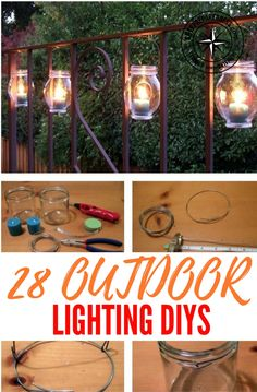 28 Awesome Outdoor Lighting DIYs — I think you will find a lot of inspiration here and safely say that you will at least pick one project and have it in your garden this spring/summer. There is nothing quite like sitting in your back yard in the summer, chilling and drinking your favorite beverage. Solar Light Crafts, Jar Lights, Outdoor Lighting, Lighting Ideas, Garden Projects, Diy Projects, Yard Art, Backyard Landscaping, Porch
