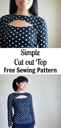 Easy Simple Cut Out Top Free Sewing Pattern:  Get access to this easy DIY free printable sewing pattern and sewing tutorial and learn how to sew a long sleeve knit top with a cute cutout detail