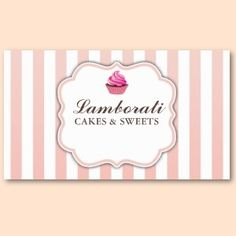 Cupcake Bakery Pink Cute Elegant Modern Business Card