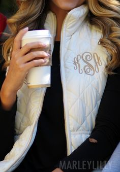 Monogrammed Puffy Vests are honestly what dreams are made of. Cozy, warm, and SO CUTE. Shop now at https://marleylilly.com/product/monogrammed-puffy-vest/
