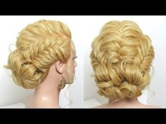 Simple Hairstyle. Fishtail Braids, Messy Bun. Updo For Long Hair - YouTube