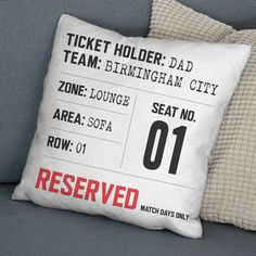 Dad's Match Day Seat Reservation Personalised Cushion - view all father's day gifts Kids Storage Bins, Diy Food Gifts, Gifts For Sports Fans, Personalised Cushions, Luxury Cushions, Personalized Gifts For Men, Cushion Pads, Cushion Covers, Faux Suede Fabric