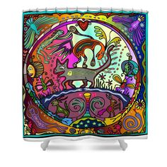 Happy Kitties Shower Curtain by Marti McGinnis